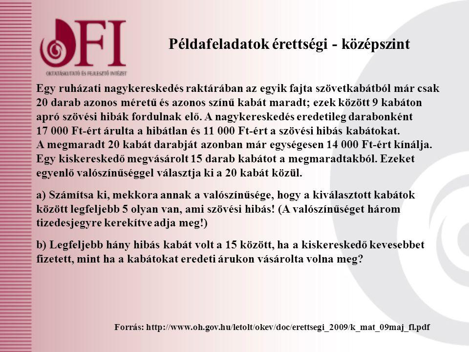 Példafeladatok érettségi - középszint Forrás: http://www.oh.gov.hu/letolt/okev/doc/erettsegi_2009/k_mat_09maj_fl.pdf Egy ruházati nagykereskedés raktá