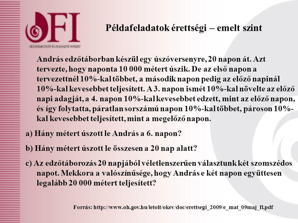 Példafeladatok érettségi – emelt szint Forrás: http://www.oh.gov.hu/letolt/okev/doc/erettsegi_2009/e_mat_09maj_fl.pdf András edzőtáborban készül egy ú
