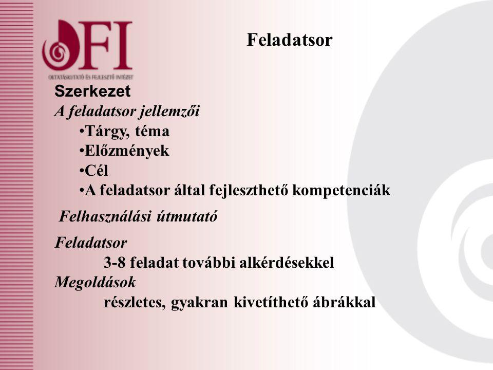 Feladatsor Szerkezet A feladatsor jellemzői Tárgy, téma Előzmények Cél A feladatsor által fejleszthető kompetenciák Felhasználási útmutató Feladatsor