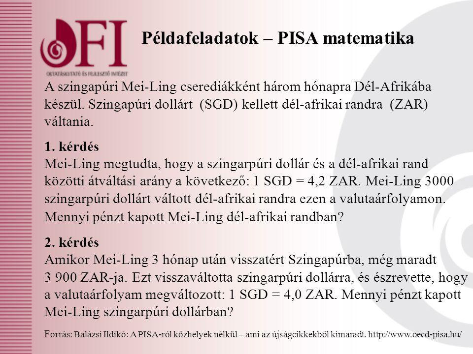 Példafeladatok – PISA matematika A szingapúri Mei-Ling cserediákként három hónapra Dél-Afrikába készül. Szingapúri dollárt (SGD) kellett dél-afrikai r