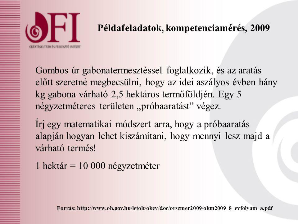 Példafeladatok, kompetenciamérés, 2009 Forrás: http://www.oh.gov.hu/letolt/okev/doc/orszmer2009/okm2009_8_evfolyam_a.pdf Gombos úr gabonatermesztéssel
