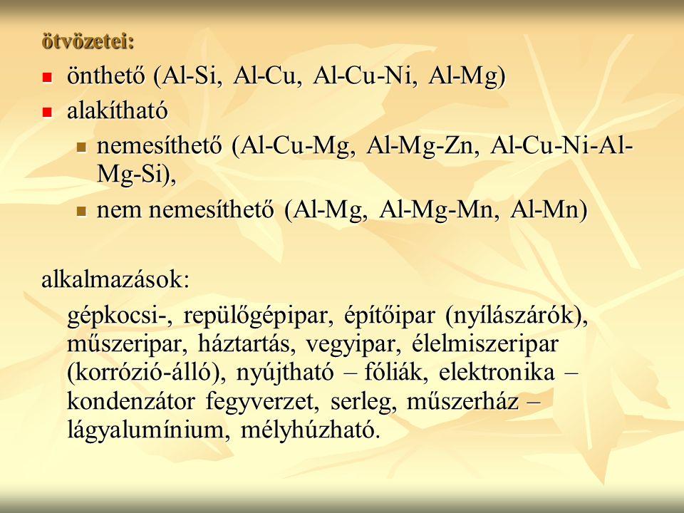 ötvözetei: önthető (Al-Si, Al-Cu, Al-Cu-Ni, Al-Mg) önthető (Al-Si, Al-Cu, Al-Cu-Ni, Al-Mg) alakítható alakítható nemesíthető (Al-Cu-Mg, Al-Mg-Zn, Al-Cu-Ni-Al- Mg-Si), nemesíthető (Al-Cu-Mg, Al-Mg-Zn, Al-Cu-Ni-Al- Mg-Si), nem nemesíthető (Al-Mg, Al-Mg-Mn, Al-Mn) nem nemesíthető (Al-Mg, Al-Mg-Mn, Al-Mn)alkalmazások: gépkocsi-, repülőgépipar, építőipar (nyílászárók), műszeripar, háztartás, vegyipar, élelmiszeripar (korrózió-álló), nyújtható – fóliák, elektronika – kondenzátor fegyverzet, serleg, műszerház – lágyalumínium, mélyhúzható.