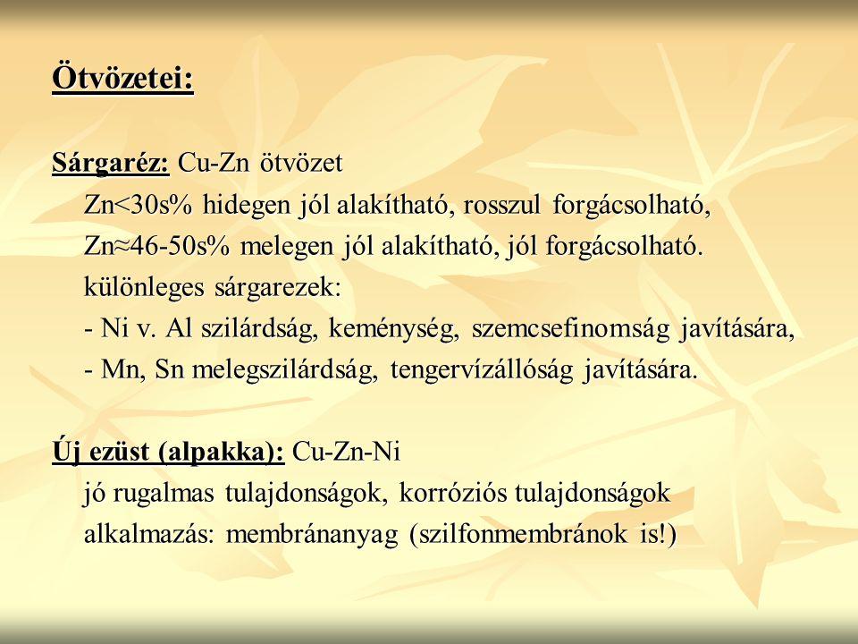 Ötvözetei: Sárgaréz: Cu-Zn ötvözet Zn<30s% hidegen jól alakítható, rosszul forgácsolható, Zn≈46-50s% melegen jól alakítható, jól forgácsolható.