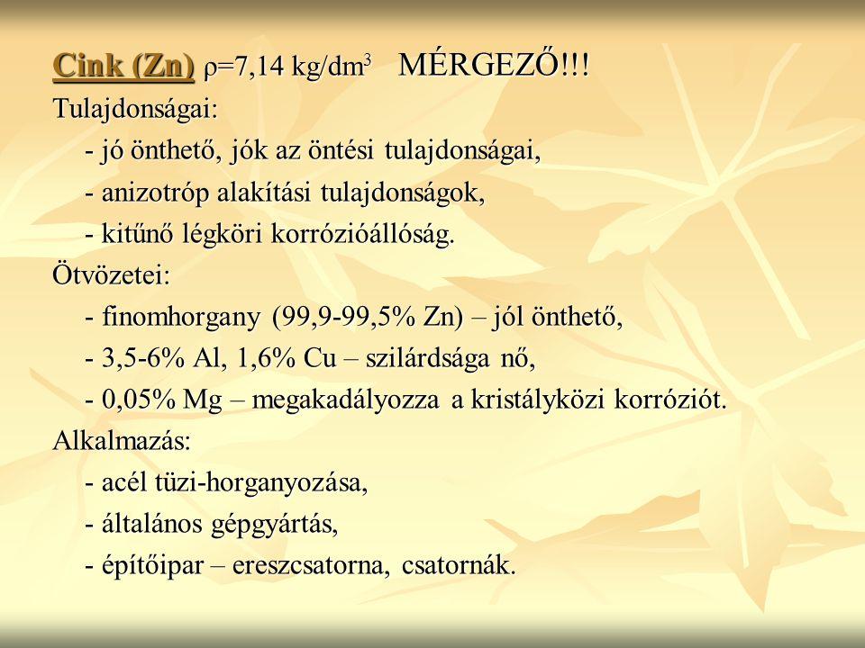 Cink (Zn) ρ=7,14 kg/dm 3 MÉRGEZŐ!!.