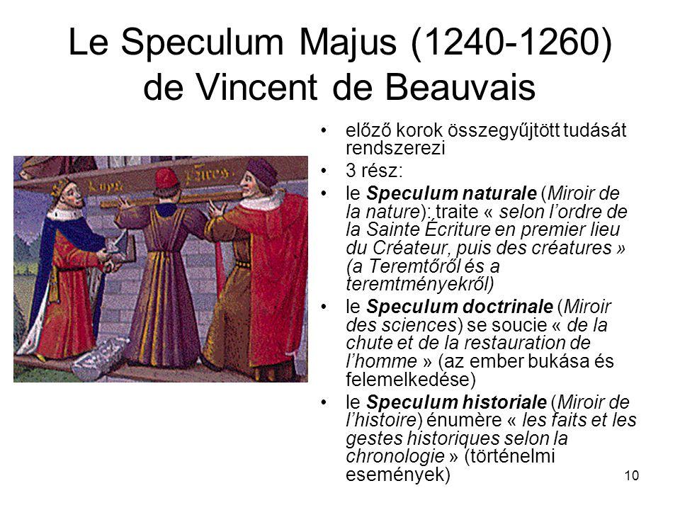 10 Le Speculum Majus (1240-1260) de Vincent de Beauvais előző korok összegyűjtött tudását rendszerezi 3 rész: le Speculum naturale (Miroir de la nature): traite « selon l'ordre de la Sainte Écriture en premier lieu du Créateur, puis des créatures » (a Teremtőről és a teremtményekről) le Speculum doctrinale (Miroir des sciences) se soucie « de la chute et de la restauration de l'homme » (az ember bukása és felemelkedése) le Speculum historiale (Miroir de l'histoire) énumère « les faits et les gestes historiques selon la chronologie » (történelmi események)
