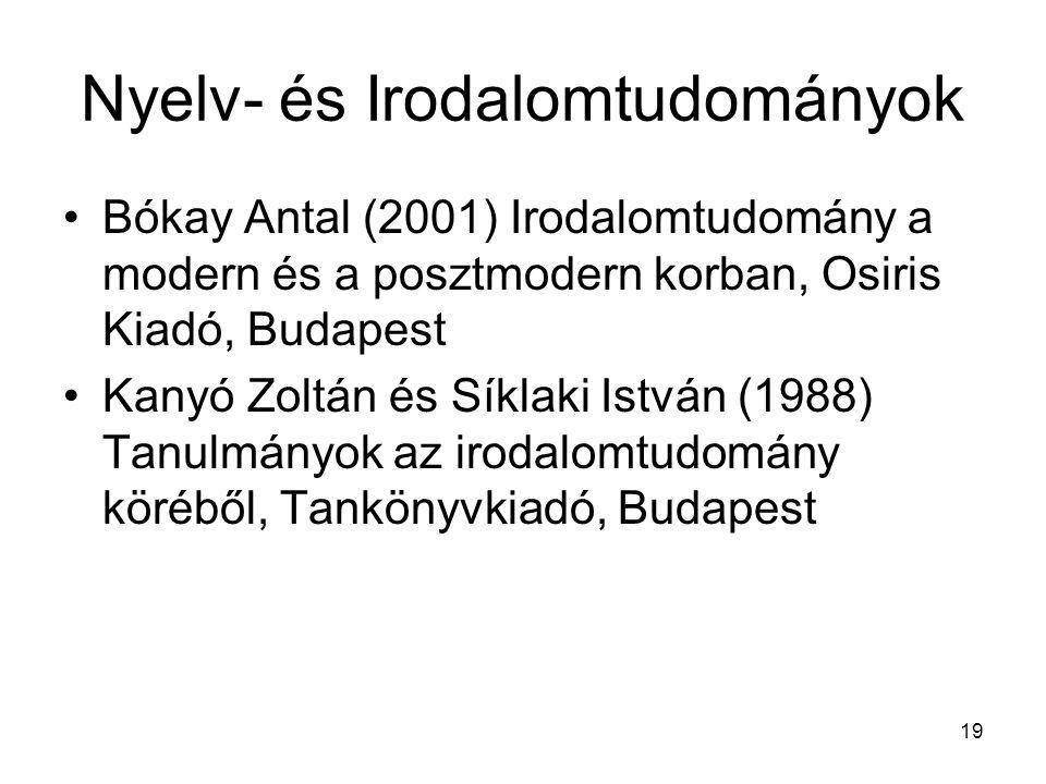 19 Nyelv- és Irodalomtudományok Bókay Antal (2001) Irodalomtudomány a modern és a posztmodern korban, Osiris Kiadó, Budapest Kanyó Zoltán és Síklaki I