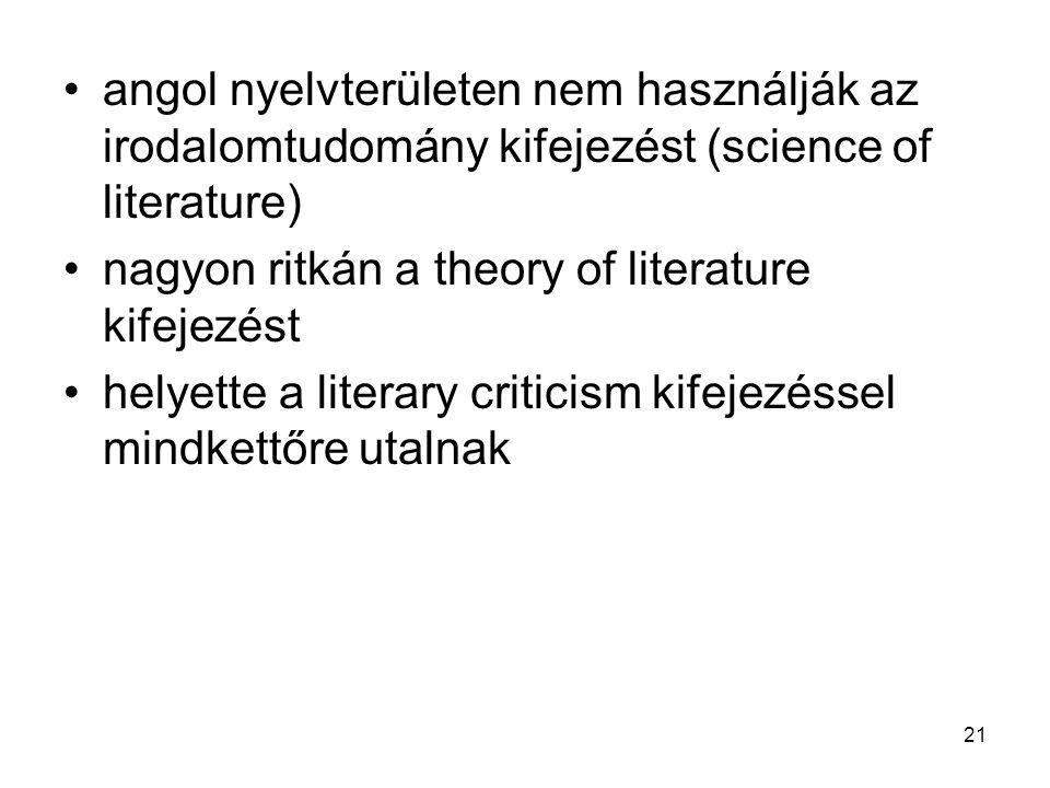 21 angol nyelvterületen nem használják az irodalomtudomány kifejezést (science of literature) nagyon ritkán a theory of literature kifejezést helyette