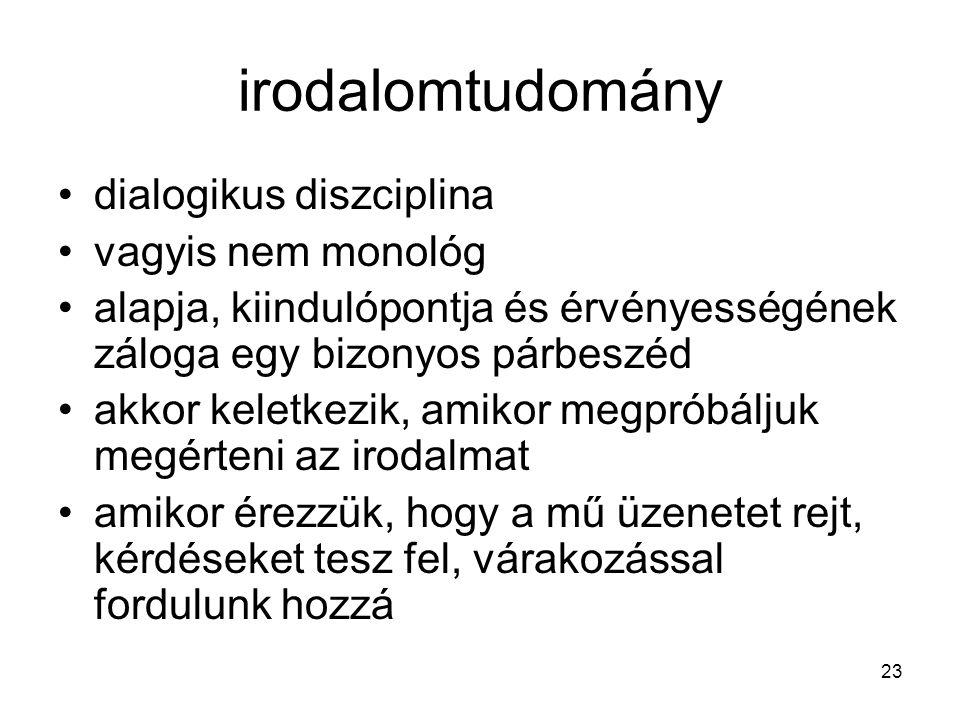 23 irodalomtudomány dialogikus diszciplina vagyis nem monológ alapja, kiindulópontja és érvényességének záloga egy bizonyos párbeszéd akkor keletkezik