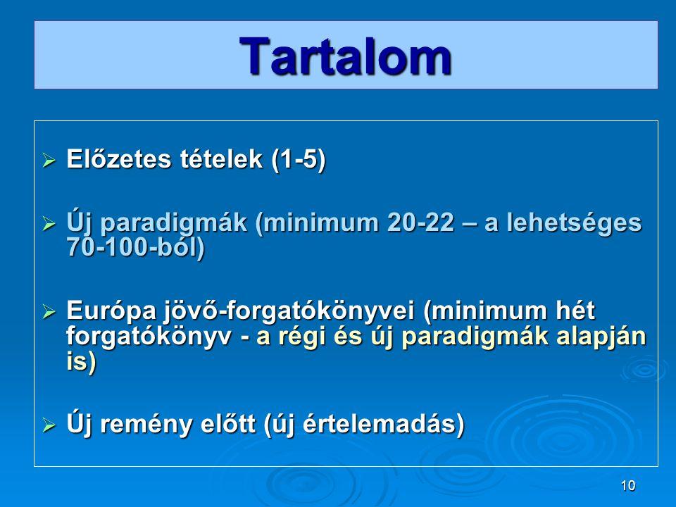 10 Tartalom  Előzetes tételek (1-5)  Új paradigmák (minimum 20-22 – a lehetséges 70-100-ból)  Európa jövő-forgatókönyvei (minimum hét forgatókönyv