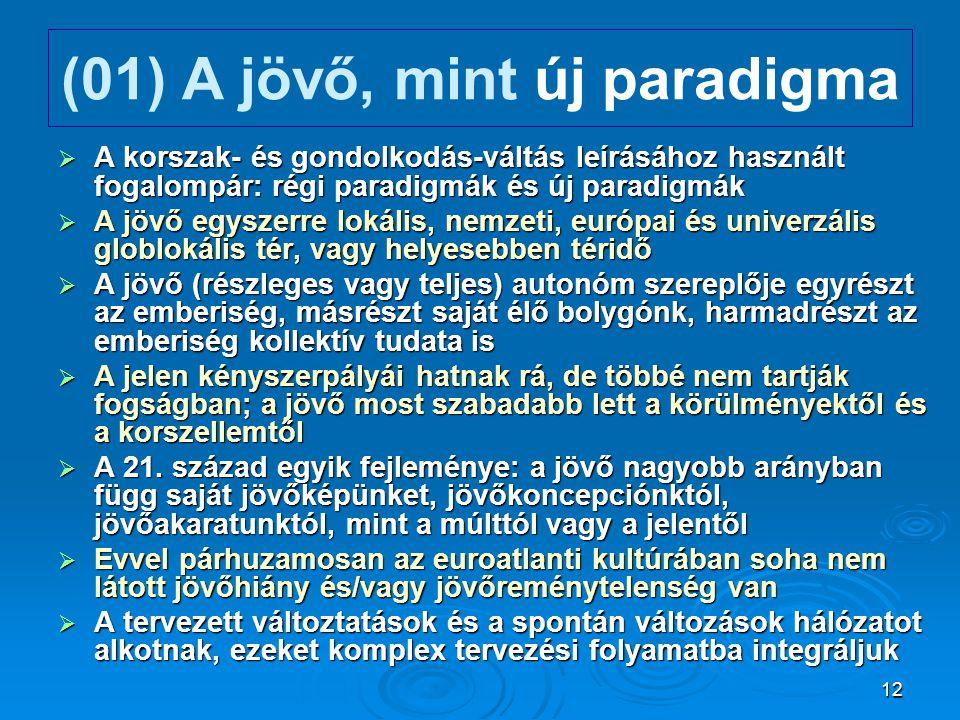 12 (01) A jövő, mint új paradigma  A korszak- és gondolkodás-váltás leírásához használt fogalompár: régi paradigmák és új paradigmák  A jövő egyszer