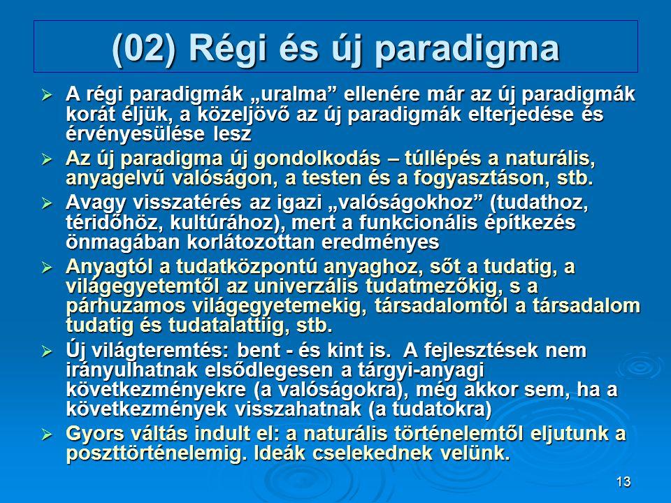 """13 (02) Régi és új paradigma  A régi paradigmák """"uralma"""" ellenére már az új paradigmák korát éljük, a közeljövő az új paradigmák elterjedése és érvén"""