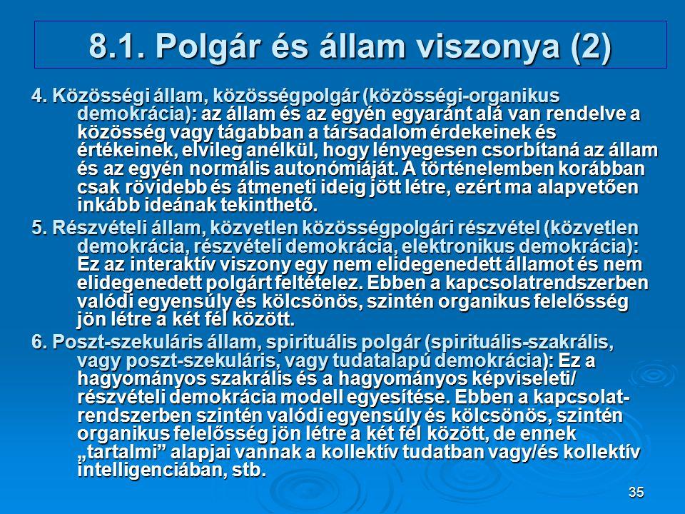 35 8.1. Polgár és állam viszonya (2) 4. Közösségi állam, közösségpolgár (közösségi-organikus demokrácia): az állam és az egyén egyaránt alá van rendel