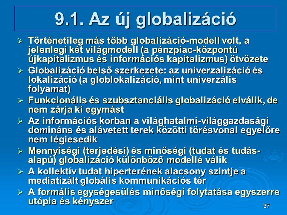 37 9.1. Az új globalizáció  Történetileg más több globalizáció-modell volt, a jelenlegi két világmodell (a pénzpiac-központú újkapitalizmus és inform