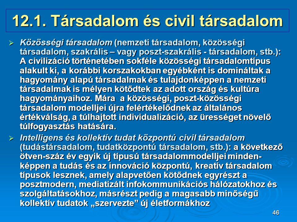 46 12.1. Társadalom és civil társadalom  Közösségi társadalom (nemzeti társadalom, közösségi társadalom, szakrális – vagy poszt-szakrális - társadalo