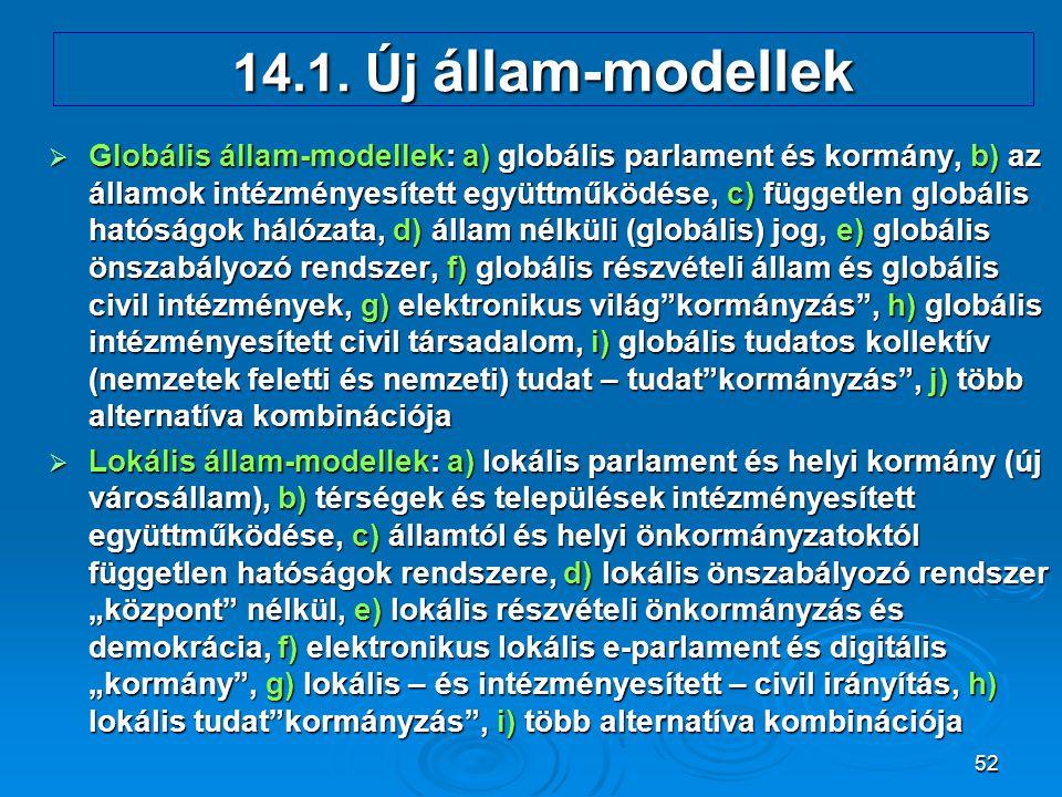 52 14.1. Új állam-modellek  Globális állam-modellek: a) globális parlament és kormány, b) az államok intézményesített együttműködése, c) független gl
