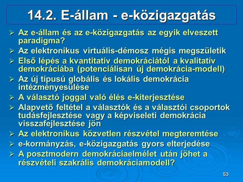 53 14.2. E-állam - e-közigazgatás  Az e-állam és az e-közigazgatás az egyik elveszett paradigma?  Az elektronikus virtuális-démosz mégis megszületik