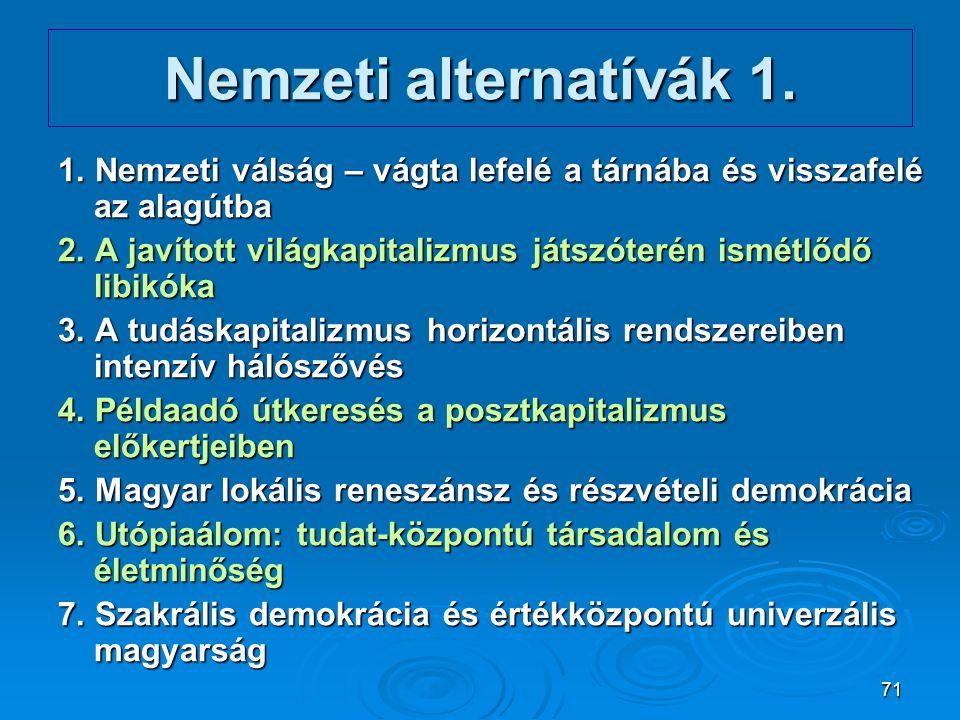 71 Nemzeti alternatívák 1. 1. Nemzeti válság – vágta lefelé a tárnába és visszafelé az alagútba 2. A javított világkapitalizmus játszóterén ismétlődő