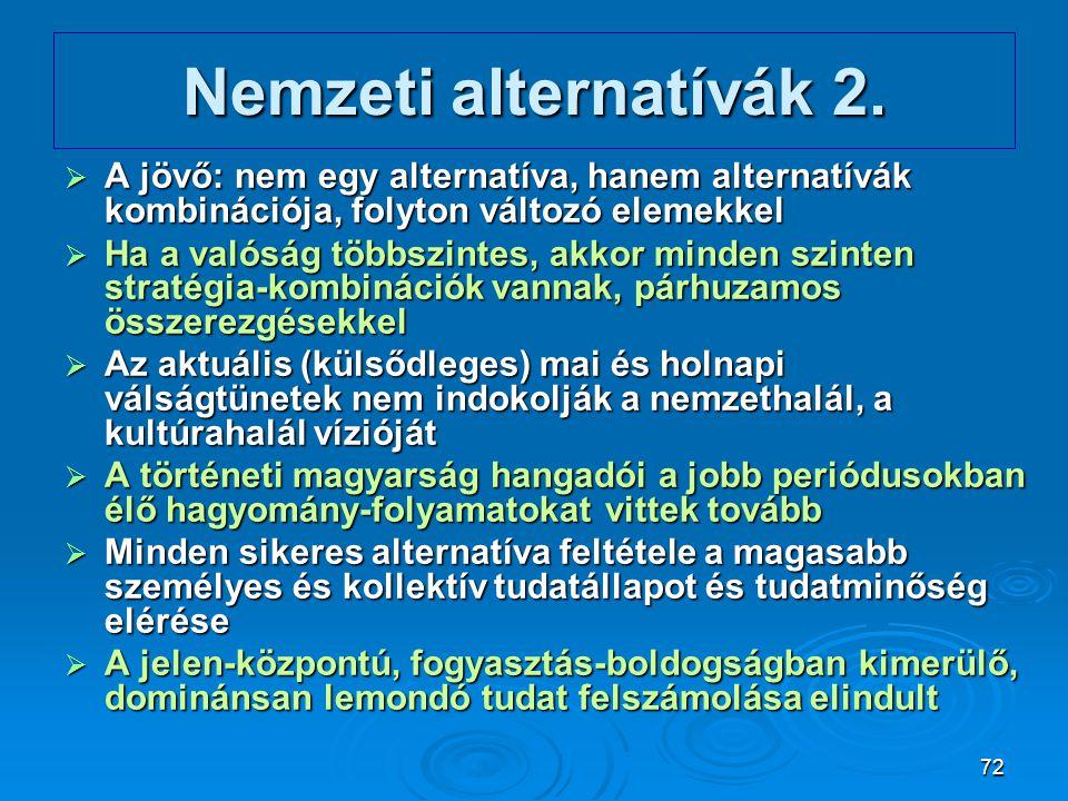 72 Nemzeti alternatívák 2.  A jövő: nem egy alternatíva, hanem alternatívák kombinációja, folyton változó elemekkel  Ha a valóság többszintes, akkor