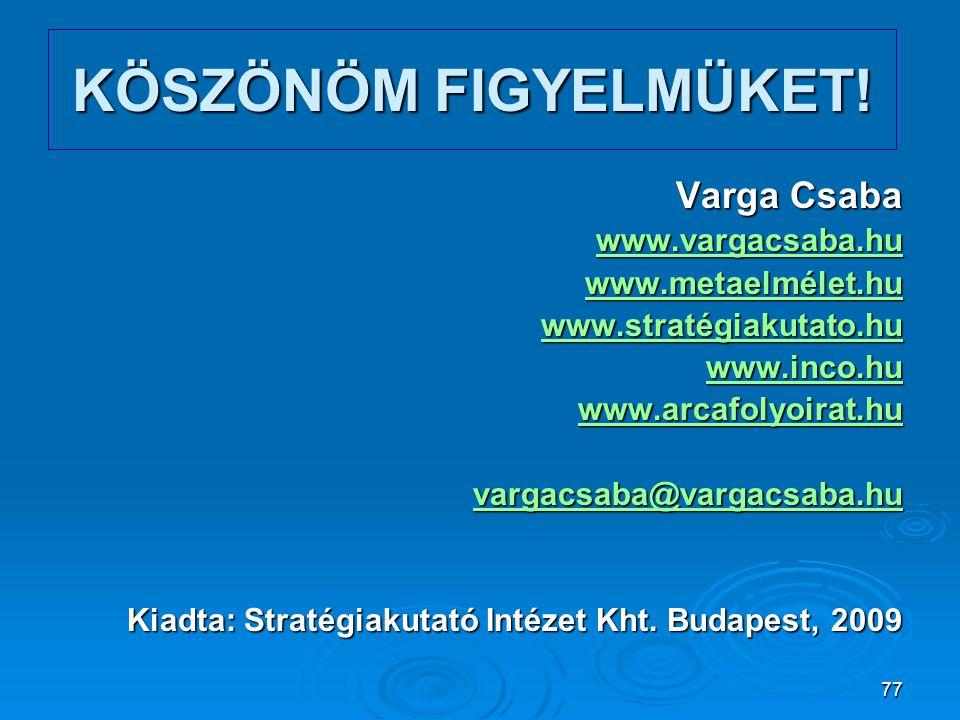 77 KÖSZÖNÖM FIGYELMÜKET! Varga Csaba www.vargacsaba.hu www.metaelmélet.hu www.stratégiakutato.hu www.inco.hu www.arcafolyoirat.hu vargacsaba@vargacsab