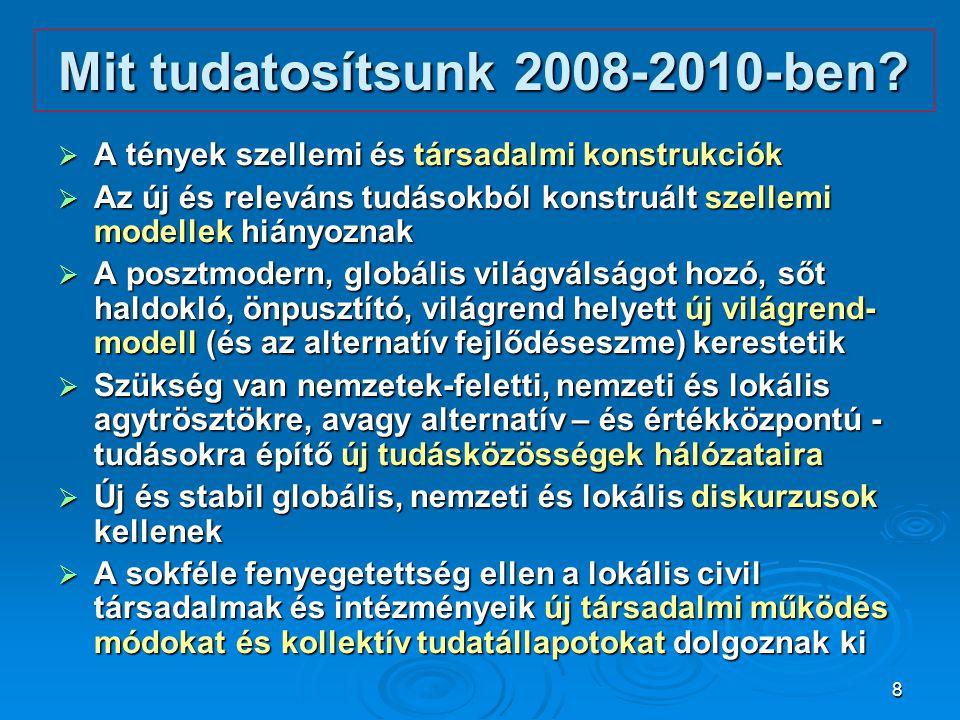 8 Mit tudatosítsunk 2008-2010-ben?  A tények szellemi és társadalmi konstrukciók  Az új és releváns tudásokból konstruált szellemi modellek hiányozn