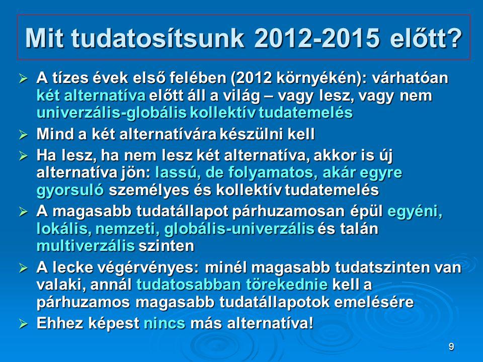 9 Mit tudatosítsunk 2012-2015 előtt?  A tízes évek első felében (2012 környékén): várhatóan két alternatíva előtt áll a világ – vagy lesz, vagy nem u