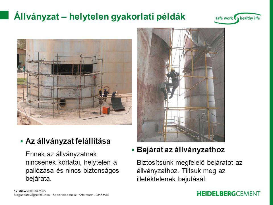 12. dia – 2008 március Magasban végzett munka – Spec. feladatok01-KHormann –GHR H&S Állványzat – helytelen gyakorlati példák  Bejárat az állványzatho