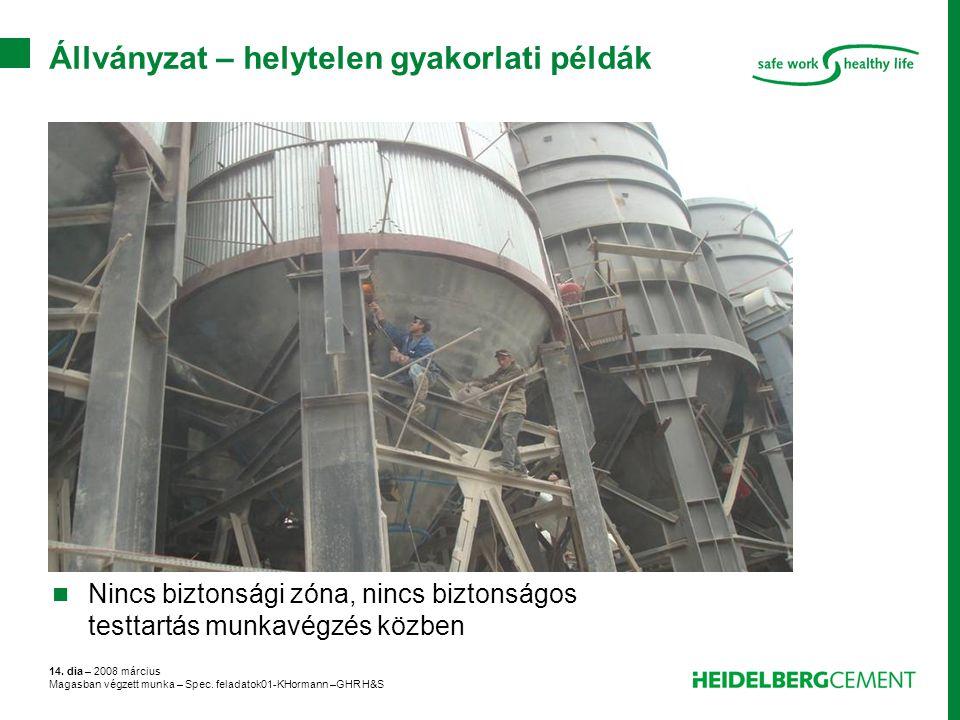 14. dia – 2008 március Magasban végzett munka – Spec. feladatok01-KHormann –GHR H&S Állványzat – helytelen gyakorlati példák Nincs biztonsági zóna, ni