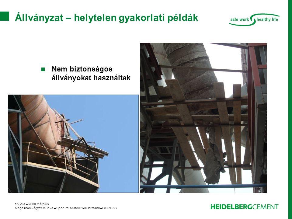 15. dia – 2008 március Magasban végzett munka – Spec. feladatok01-KHormann –GHR H&S Állványzat – helytelen gyakorlati példák Nem biztonságos állványok