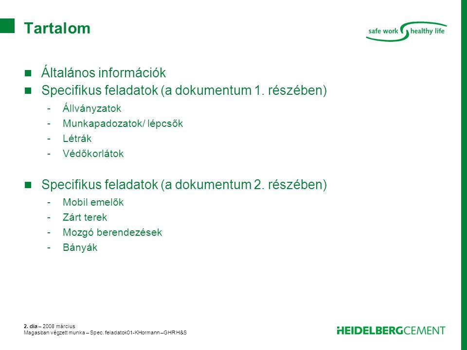 2. dia – 2008 március Magasban végzett munka – Spec. feladatok01-KHormann –GHR H&S Tartalom Általános információk Specifikus feladatok (a dokumentum 1