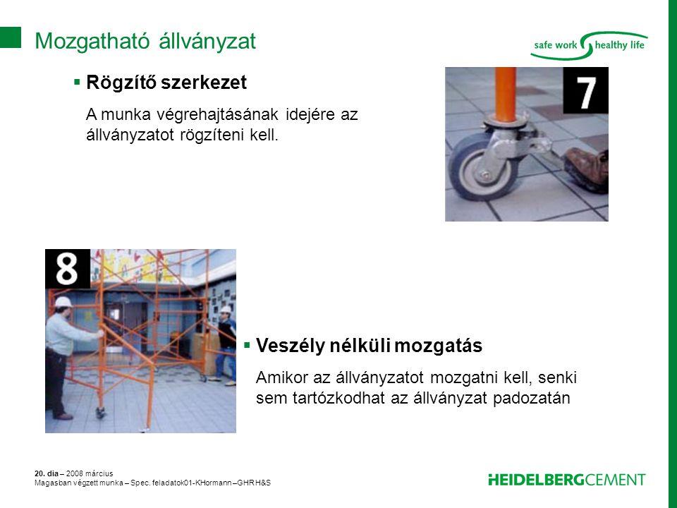 20. dia – 2008 március Magasban végzett munka – Spec. feladatok01-KHormann –GHR H&S  Rögzítő szerkezet A munka végrehajtásának idejére az állványzato