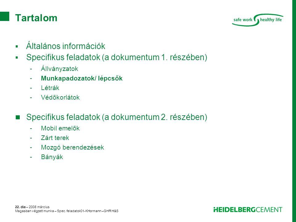 22. dia – 2008 március Magasban végzett munka – Spec. feladatok01-KHormann –GHR H&S Tartalom  Általános információk  Specifikus feladatok (a dokumen