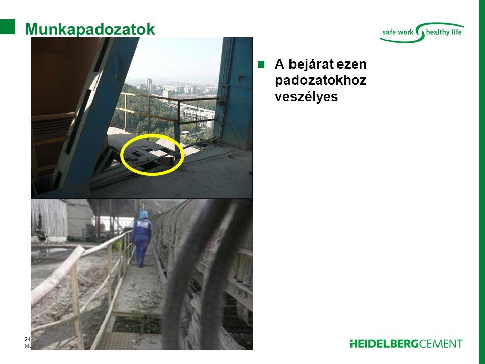 24. dia – 2008 március Magasban végzett munka – Spec. feladatok01-KHormann –GHR H&S Munkapadozatok A bejárat ezen padozatokhoz veszélyes