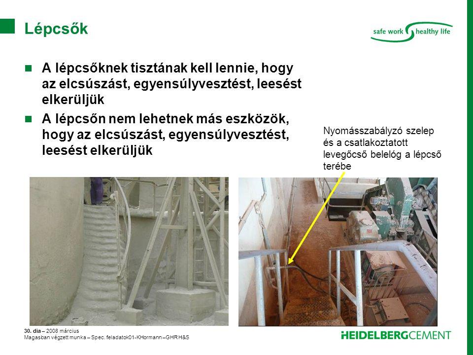 30. dia – 2008 március Magasban végzett munka – Spec. feladatok01-KHormann –GHR H&S Lépcsők A lépcsőknek tisztának kell lennie, hogy az elcsúszást, eg
