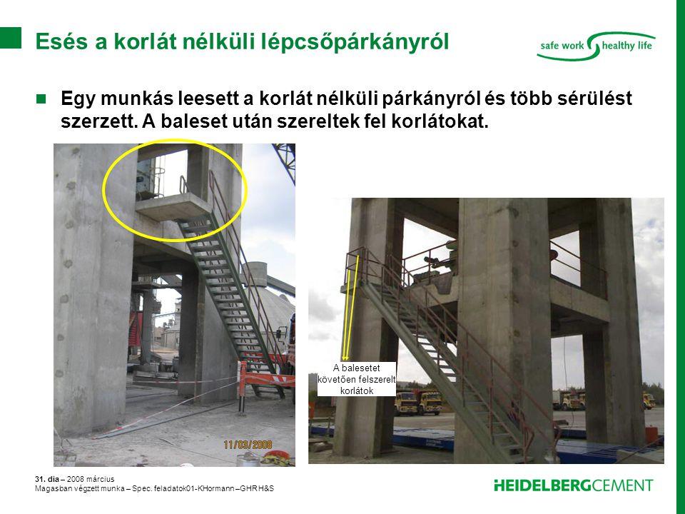 31. dia – 2008 március Magasban végzett munka – Spec. feladatok01-KHormann –GHR H&S Esés a korlát nélküli lépcsőpárkányról Egy munkás leesett a korlát
