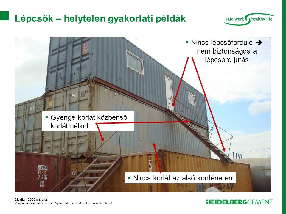 32. dia – 2008 március Magasban végzett munka – Spec. feladatok01-KHormann –GHR H&S Lépcsők – helytelen gyakorlati példák  Nincs lépcsőforduló  nem