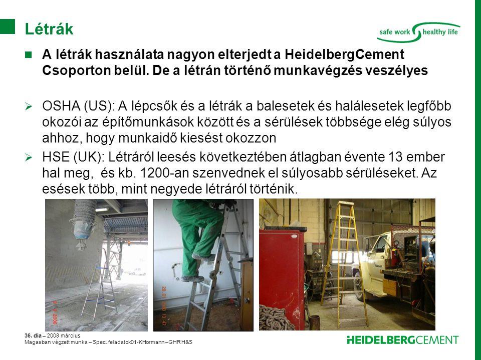 36. dia – 2008 március Magasban végzett munka – Spec. feladatok01-KHormann –GHR H&S Létrák A létrák használata nagyon elterjedt a HeidelbergCement Cso