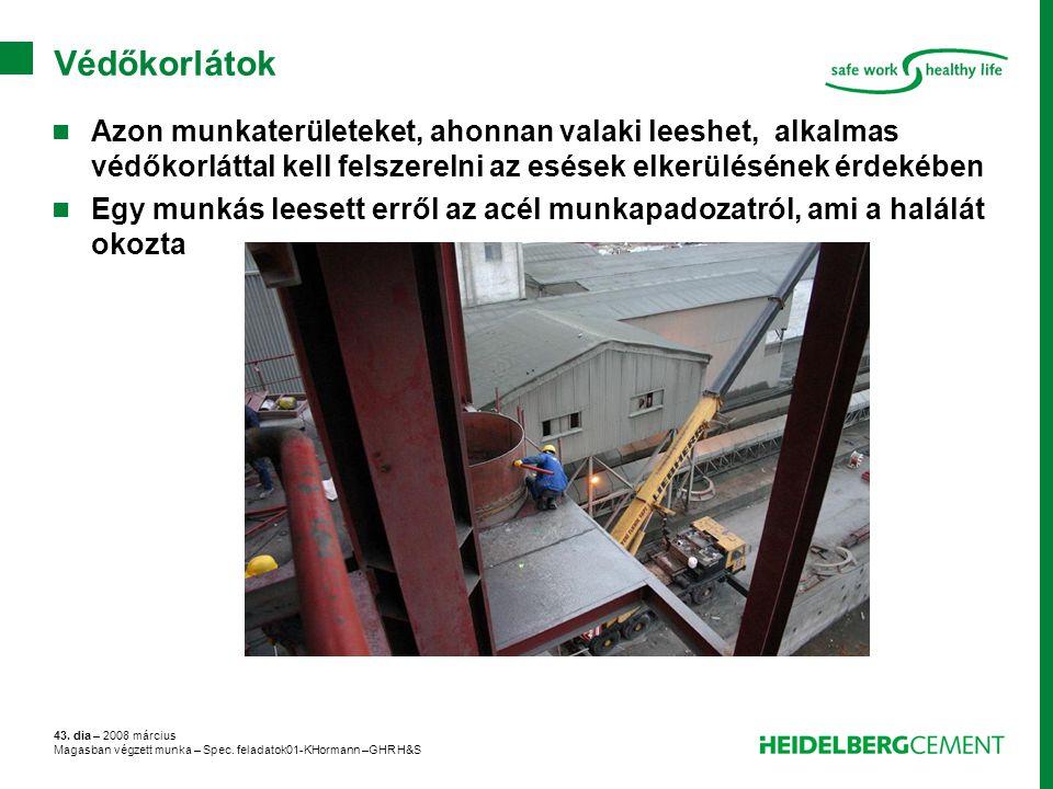 43. dia – 2008 március Magasban végzett munka – Spec. feladatok01-KHormann –GHR H&S Védőkorlátok Azon munkaterületeket, ahonnan valaki leeshet, alkalm