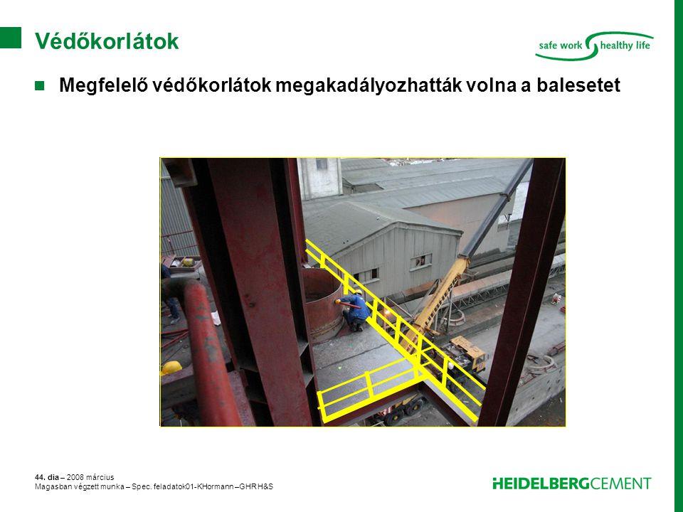 44. dia – 2008 március Magasban végzett munka – Spec. feladatok01-KHormann –GHR H&S Védőkorlátok Megfelelő védőkorlátok megakadályozhatták volna a bal