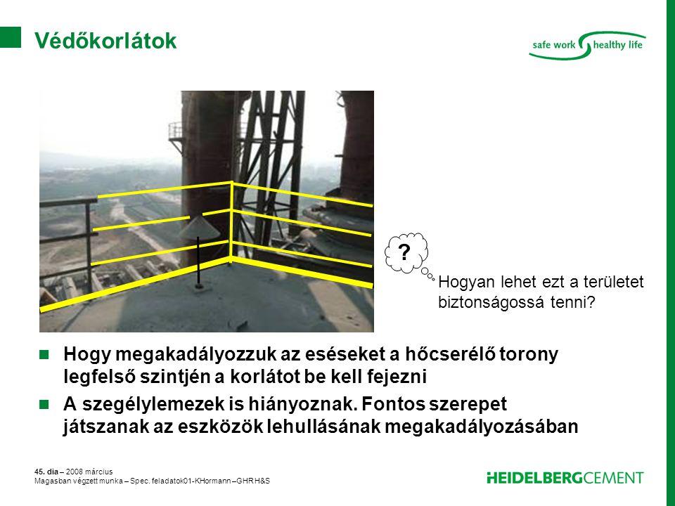 45. dia – 2008 március Magasban végzett munka – Spec. feladatok01-KHormann –GHR H&S Védőkorlátok Hogy megakadályozzuk az eséseket a hőcserélő torony l
