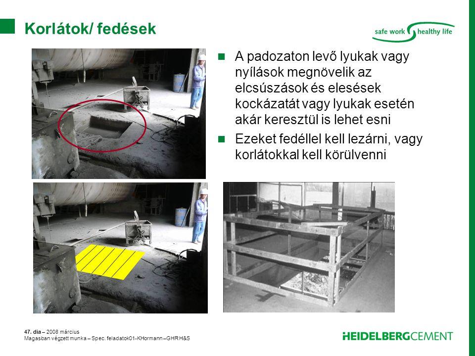 47. dia – 2008 március Magasban végzett munka – Spec. feladatok01-KHormann –GHR H&S Korlátok/ fedések A padozaton levő lyukak vagy nyílások megnövelik