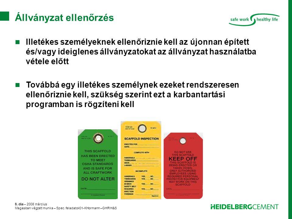 8. dia – 2008 március Magasban végzett munka – Spec. feladatok01-KHormann –GHR H&S Állványzat ellenőrzés Illetékes személyeknek ellenőriznie kell az ú