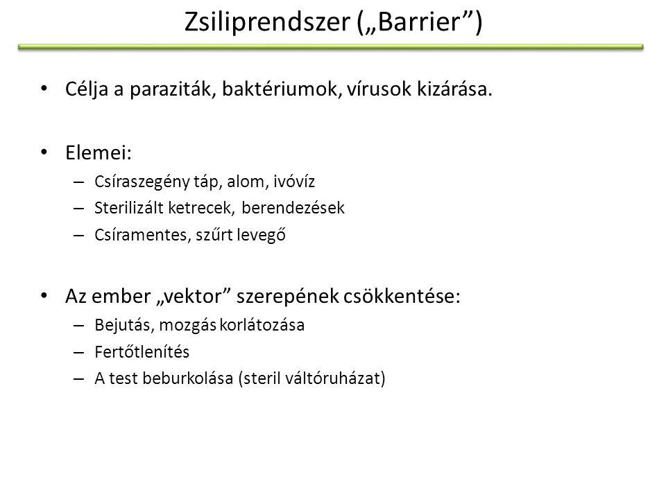"""Higiéniai fokozatok az állatházban A.Csíramentes (GF – """"germ free ): Izolátor: Steril belső tér 10-30 ketrec, 50-100 állat B."""