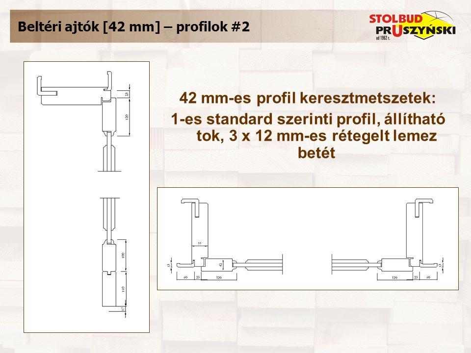 Beltéri ajtók [42 mm] – profilok #2 42 mm-es profil keresztmetszetek: 1-es standard szerinti profil, állítható tok, 3 x 12 mm-es rétegelt lemez betét