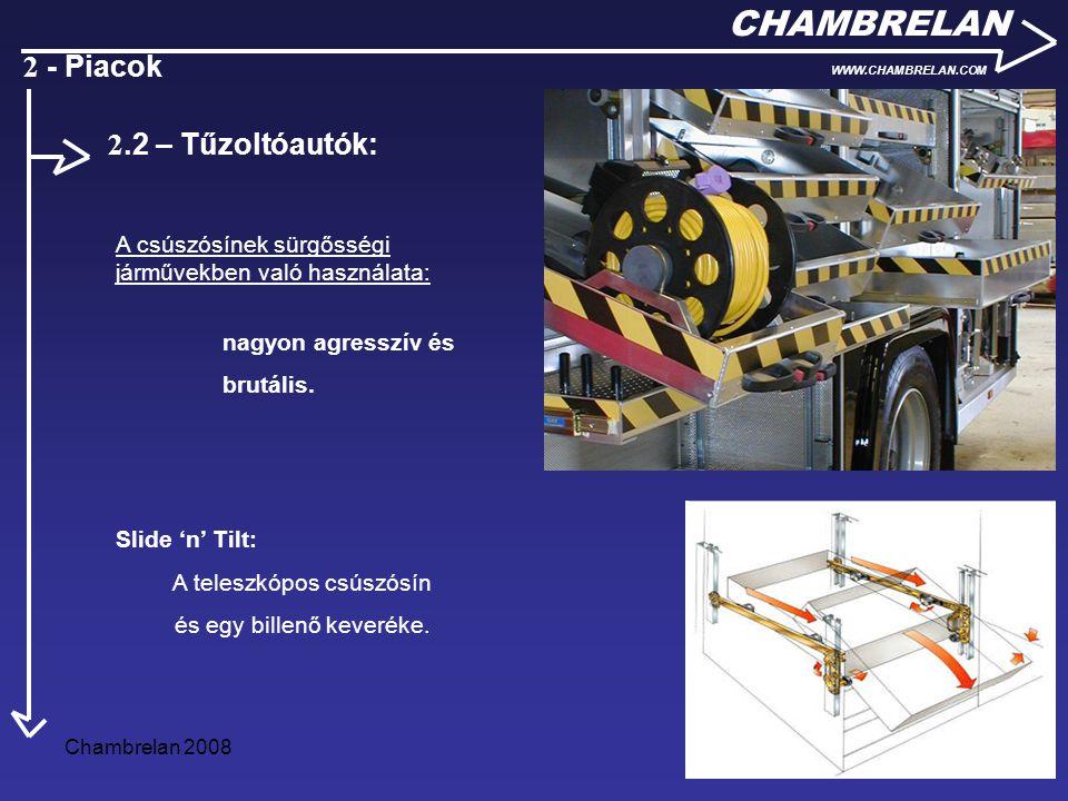 Chambrelan 200810 CHAMBRELAN WWW.CHAMBRELAN.COM 2 - Piacok A csúszósínek sürgősségi járművekben való használata: nagyon agresszív és brutális. Slide '