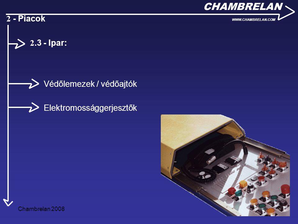 Chambrelan 200811 CHAMBRELAN WWW.CHAMBRELAN.COM 2 - Piacok Védőlemezek / védőajtók Elektromossággerjesztők 2.3 - Ipar: