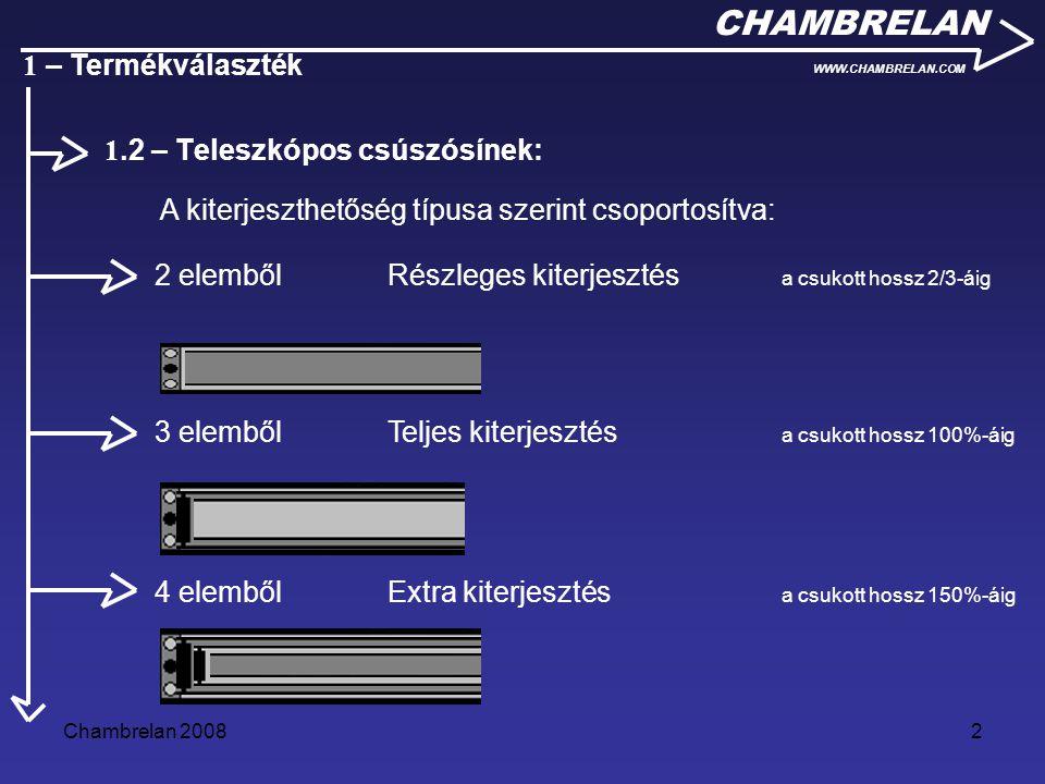 Chambrelan 20082 CHAMBRELAN WWW.CHAMBRELAN.COM 1 – Termékválaszték A kiterjeszthetőség típusa szerint csoportosítva: 2 elemből Részleges kiterjesztés