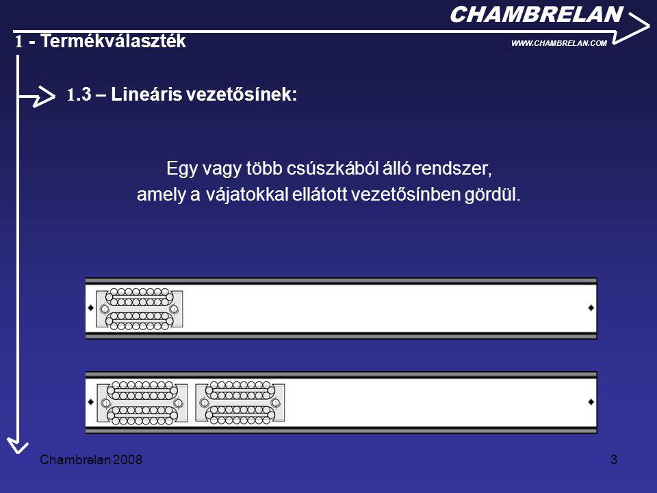 Chambrelan 20083 CHAMBRELAN WWW.CHAMBRELAN.COM 1 - Termékválaszték Egy vagy több csúszkából álló rendszer, amely a vájatokkal ellátott vezetősínben gö