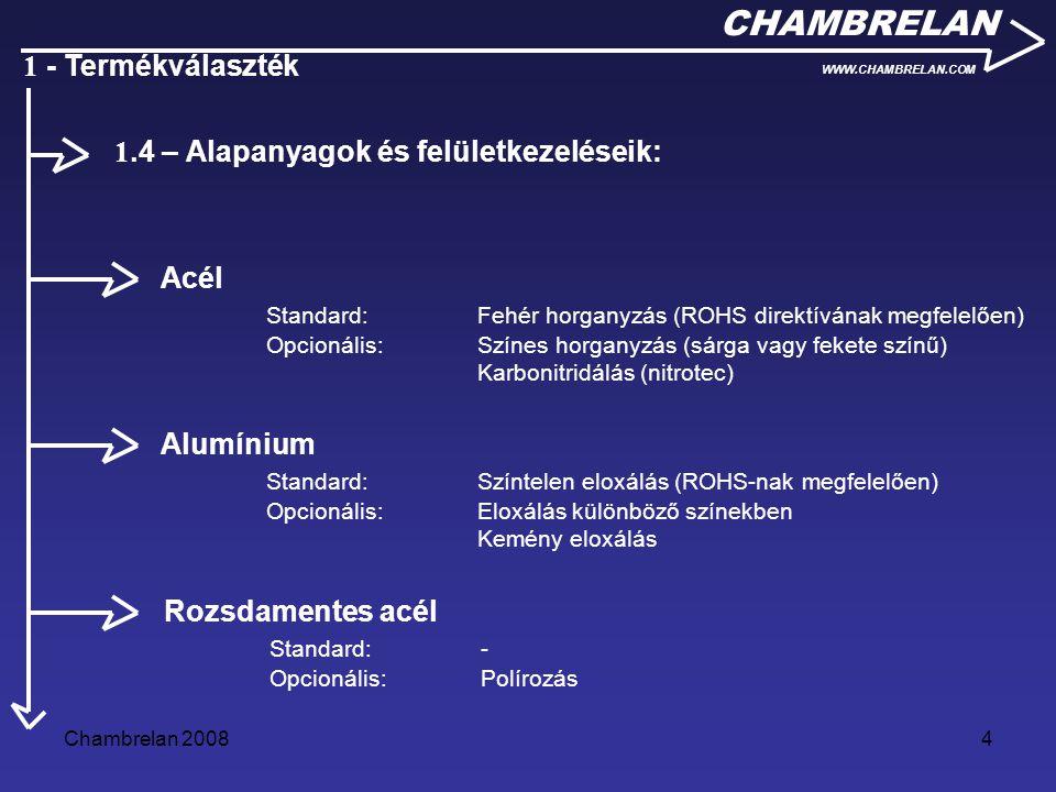 Chambrelan 20084 CHAMBRELAN WWW.CHAMBRELAN.COM 1 - Termékválaszték Acél Standard:Fehér horganyzás (ROHS direktívának megfelelően) Opcionális: Színes h
