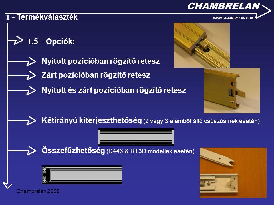 Chambrelan 20086 CHAMBRELAN WWW.CHAMBRELAN.COM 1 - Termékválaszték Csúszósíntartó tok Rögzítő szegecsek Akasztók Csúszósínbe foglalt csavar és/vagy anyacsavar 1.6 – Kiegészítő termékek: