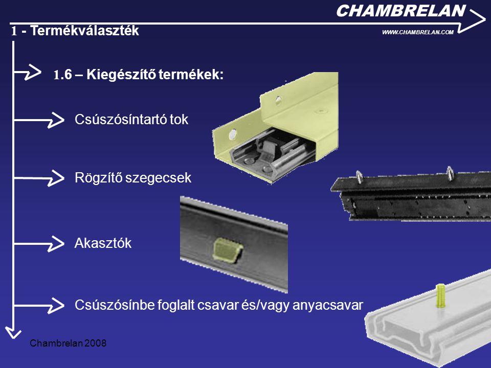 Chambrelan 20086 CHAMBRELAN WWW.CHAMBRELAN.COM 1 - Termékválaszték Csúszósíntartó tok Rögzítő szegecsek Akasztók Csúszósínbe foglalt csavar és/vagy an